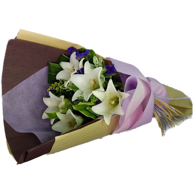 Five Steamed White Color Lily Bouquet